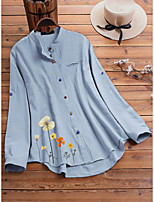 cheap -Women's Blouse Floral Pattern Long Sleeve Round Neck Tops Loose Basic Basic Top White Blue Light Green
