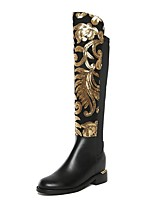 cheap -Women's Boots Knee High Boots 2020 Wedge Heel Round Toe Vintage Daily Sequin Solid Colored Leather Knee High Boots Black