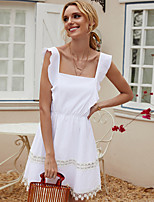 cheap -Women's A-Line Dress Knee Length Dress - Sleeveless Solid Color Ruched Patchwork Summer Square Neck Casual Cotton Slim 2020 White S M L XL