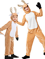cheap -Reindeer Cosplay Costume Outfits Group Costume Kid's Adults' Women's Cosplay Halloween Halloween Festival / Holiday Plush Fabric Orange Women's Easy Carnival Costumes / Leotard / Onesie / Gloves