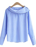 cheap -Women's Blouse Shirt Striped Long Sleeve Round Neck Tops Loose Basic Basic Top Black Blue