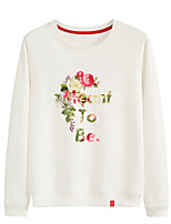 cheap -Women's Sweatshirt Pullover Sweatshirts Black White Pink Artistic Style Crew Neck Cotton Cute Flower Sport Athleisure Pullover Long Sleeve Breathable Warm Soft Comfortable Everyday Use Causal