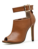 cheap -Women's Boots Stiletto Heel Peep Toe Casual Basic Daily Buckle Solid Colored PU Booties / Ankle Boots Walking Shoes Brown