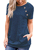 cheap -Women's T-shirt Solid Colored Button Round Neck Tops Cotton Streetwear Basic Top Black Blue Purple