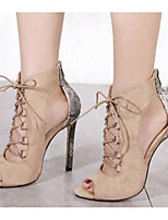 cheap -Women's Sandals Stiletto Heel Peep Toe Basic Daily Lace-up Solid Colored Nubuck Almond / Black