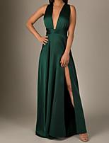 cheap -A-Line Minimalist Sexy Wedding Guest Formal Evening Dress V Neck Sleeveless Sweep / Brush Train Charmeuse with Sleek 2020