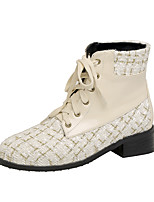 cheap -Women's Boots Block Heel Round Toe Casual Preppy Daily Party & Evening Color Block Plaid / Check Linen PU Booties / Ankle Boots White / Black