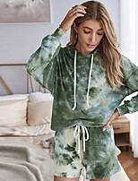 cheap -Women's Hoodie Set Sports Shorts Tie Dye Hoodie Color Block Sport Athleisure Shorts Top Long Sleeve Breathable Soft Oversized Comfortable Everyday Use Exercising General Use