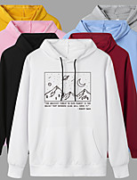 cheap -Women's Hoodie Artistic Style Hoodie Cartoon Letter Printed Sport Athleisure Pullover Long Sleeve Warm Soft Oversized Comfortable Everyday Use Exercising General Use