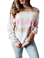 cheap -Women's T-shirt Tie Dye Long Sleeve Print Round Neck Tops Loose Basic Basic Top White
