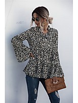 cheap -Women's Shirt Leopard Galaxy Long Sleeve Print V Neck Tops Loose Basic Basic Top Black Beige