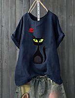 cheap -Women's Blouse Cat Round Neck Tops Basic Top Green Navy Blue