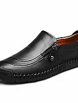 cheap -slip-on shoe,men's leather hand stitching zipper non-slip casual walking sneaker loafer boat shoe black 8.5 m us