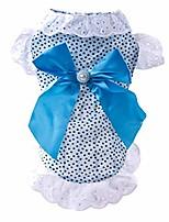 cheap -wakeu small dog girl dress pet puppy cat summer clothes wave point pearl shirt (gray)