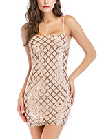 cheap -Women's A-Line Dress Short Mini Dress - Sleeveless Solid Color Backless Sequins Embroidered Summer Square Neck V Neck Sexy Party Club 2020 Gold S M L XL