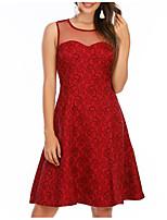 cheap -Women's A-Line Dress Knee Length Dress - Sleeveless Geometric Patchwork Summer Sexy Party Cotton Slim 2020 Wine S M L XL