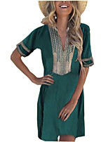 cheap -Women's A-Line Dress Knee Length Dress - Short Sleeve Color Block Embroidered Summer V Neck Casual Going out Slim 2020 Black Blushing Pink Green S M L XL