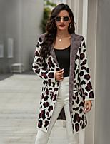 cheap -Women's Basic Knitted Leopard Cheetah Print Cardigan Long Sleeve Loose Sweater Cardigans V Neck Fall Winter Purple Army Green Khaki