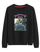 cheap -Women's Sweatshirt Pullover Sweatshirts Black White Pink Photo Person Cute Letter Printed Sport Athleisure Pullover Long Sleeve Warm Soft Comfortable Everyday Use Causal Exercising General Use