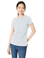 cheap -amazon brand - women& #39;s lived-in cotton slub short-sleeve crew neck t-shirt, black/light heather grey, x-small
