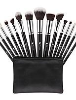 cheap -makeup brush set professional foundation face powder eyeshadow blending brush tool with leather bag & #40;15pcs, black/silver& #41;