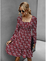 cheap -Women's A-Line Dress Midi Dress - Long Sleeve Geometric Print Winter Square Neck Plus Size Casual Daily Loose 2020 Black Wine Army Green Navy Blue One-Size
