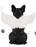 cheap -Dog Cat Halloween Costumes Costume Bandanas & Hats Angel & Devil Birthday Cute Christmas Party Dog Clothes Breathable White Black Costume Feather S L