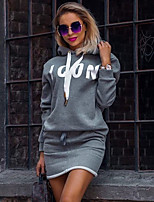 cheap -Women's Shift Dress Short Mini Dress - Long Sleeve Letter Print Fall Work Daily Loose 2020 Black Gray S M L XL XXL