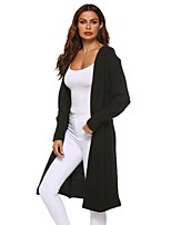 cheap -Women's Knitted Solid Colored Cardigan Long Sleeve Sweater Cardigans V Neck Fall Winter Black Light Brown Gray