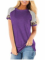 cheap -tunic tops for leggings for women,short sleeve shirts crew neck t shirt plain knit flared bottom fit loosely summer clothes maternity tunic over plus size purple 3xl