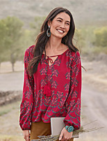 cheap -Women's Blouse Shirt Floral Flower Long Sleeve Cut Out Print V Neck Tops Lantern Sleeve Loose Basic Basic Top Red