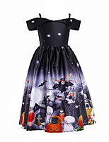 cheap -Witch JSK / Jumper Skirt Kid's Girls' Vacation Dress Halloween Halloween Festival / Holiday Cotton Polyster Black Easy Carnival Costumes