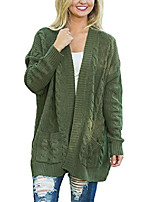 cheap -womens plus size fashion ladies casual plain chunky thick long sleeve open front ribbed long cable knit cardigans sweaters jackets with pockets outerwear army green x-large