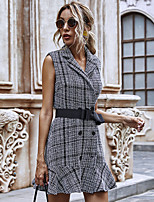 cheap -Women's A-Line Dress Short Mini Dress - Sleeveless Check Bow Ruffle Patchwork Winter Shirt Collar Casual Slim 2020 Black S M L XL