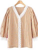 cheap -Women's Blouse Shirt Houndstooth V Neck Tops Lantern Sleeve Cotton Basic Basic Top Black Red Yellow