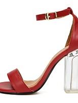 cheap -Women's Heels Block Heel Peep Toe Classic Basic Daily Solid Colored PU Walking Shoes Dark Red / White / Black