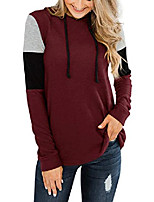 cheap -womens color block hoodies pullover long sleeve sweatshirts tops burgendy xx-large