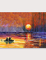 cheap -IARTS Hand Painted setting sun Oil Painting with Stretched Frame For Home Decoration With Stretched Frame