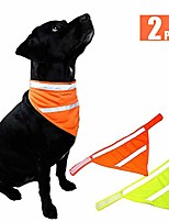 cheap -dog bandanas reflective dog scarf velcro dog bandana cat 2-pack yellow&orange s