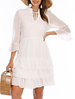 cheap -Women's A-Line Dress Knee Length Dress - 3/4 Length Sleeve Solid Color Lace Summer V Neck Casual Slim 2020 White S M L