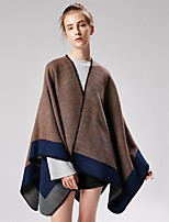 cheap -Women's Cloak / Capes Regular Color Block Daily Basic Black Wine Camel One-Size
