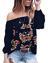cheap -womens vintage embroidery off the shoulder tops blouse boho floral print long sleeve casual blouse shirt & #40;black, xxl& #41;