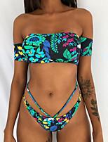 cheap -Women's Bandeau Bohemian Style Vintage Style Bikini Swimsuit Print Floral Strapless Swimwear Bathing Suits Black Yellow Green / Padded Bras