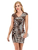 cheap -Women's A-Line Dress Short Mini Dress - Short Sleeve Striped Sequins Summer Sexy Party Club 2020 Black Silver S M L XL XXL