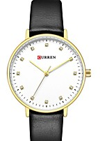 cheap -CURREN Women's Quartz Watches Quartz Formal Style Modern Style Minimalist Water Resistant / Waterproof Genuine Leather Black / Blue / Brown Analog - Black Blue Blushing Pink One Year Battery Life