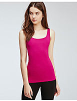 cheap -Women's Tank Top Solid Colored Round Neck Tops Basic Basic Top Blue Fuchsia