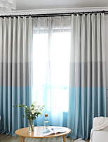cheap -Two Panel Simple Three-Color Stitching Style Curtains For Living Room Bedroom Dining Children's Room Curtains