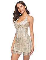 cheap -Women's A-Line Dress Short Mini Dress - Sleeveless Solid Color Sequins Summer V Neck Sexy Party Club 2020 Black Gold S M L XL XXL