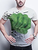 cheap -Men's Daily Plus Size T-shirt Graphic Print Short Sleeve Tops Basic Round Neck Green / Sports