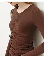 cheap -Women's Blouse Solid Colored Long Sleeve Drawstring V Neck Tops Slim Basic Basic Top Brown
